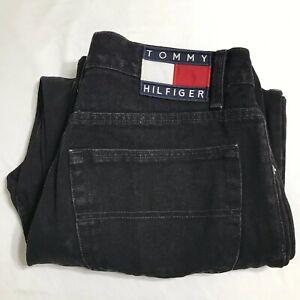 Vintage-90s-Tommy-Hilfiger-Black-Freedom-Fit-Denim-Jeans-32-x-25-Flag-Spellout
