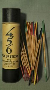 vintage-old-456-Pick-Up-Sticks-wood-The-Continental-Game-O-Schoenhut-tube