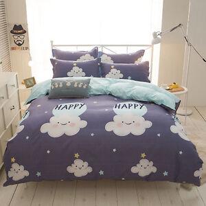 Home-Single-Queen-King-Bed-Set-Pillowcase-Quilt-Duvet-Cover-oAUR-Happy-Cloud