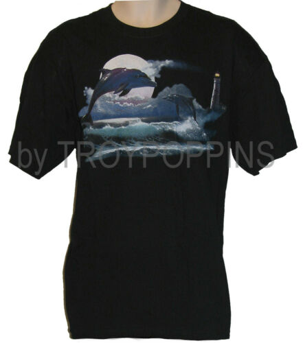 1-DOLPHIN MOON OCEAN LIGHTHOUSE JUMPING NIGHT BEACH GRAPHIC PRINTED MENS T-SHIRT