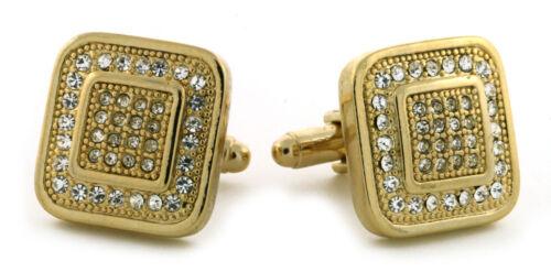 Premium 14K Gold Plated Iced Cuff Link Wedding Formal Square Shirt Cufflinks 05