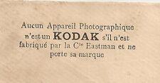 1899 APPAREIL PHOTO KODAK PAR EASTMAN PARIS 11 AV. DE L'OPERA SUR ENVELOPPE SAGE