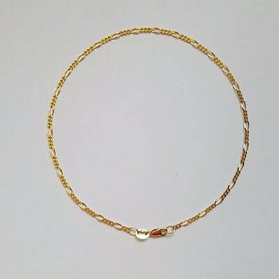 NEW Authentic Genuine 9ct 9k Yellow Solid Gold Diamond Cut Figaro 3.1 Anklet