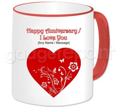 Rouge Amour personnalisé Cœur /& Fleurs love you happy anniversary Valentines Mug