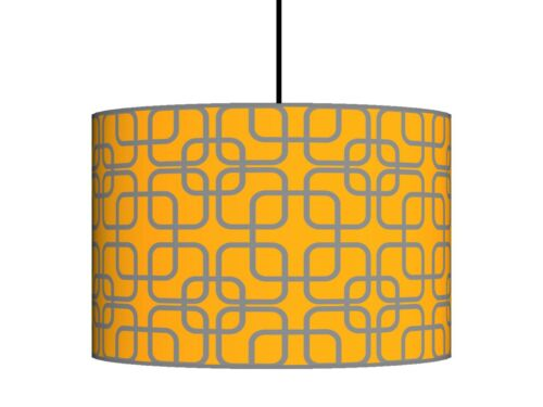 Ochre mustard and Grey handmade drum lampshade floor or ceiling lampshade