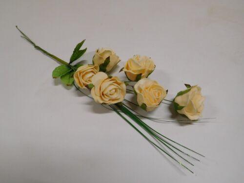 6 x Rose Foamrose Schaumrose Rosenstrauß Kunstblume gelb DEFLO0161//50BUN F1