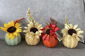 Set Of 4 Artificial Pumpkin With Flowers Arrangement For Table Home Decor