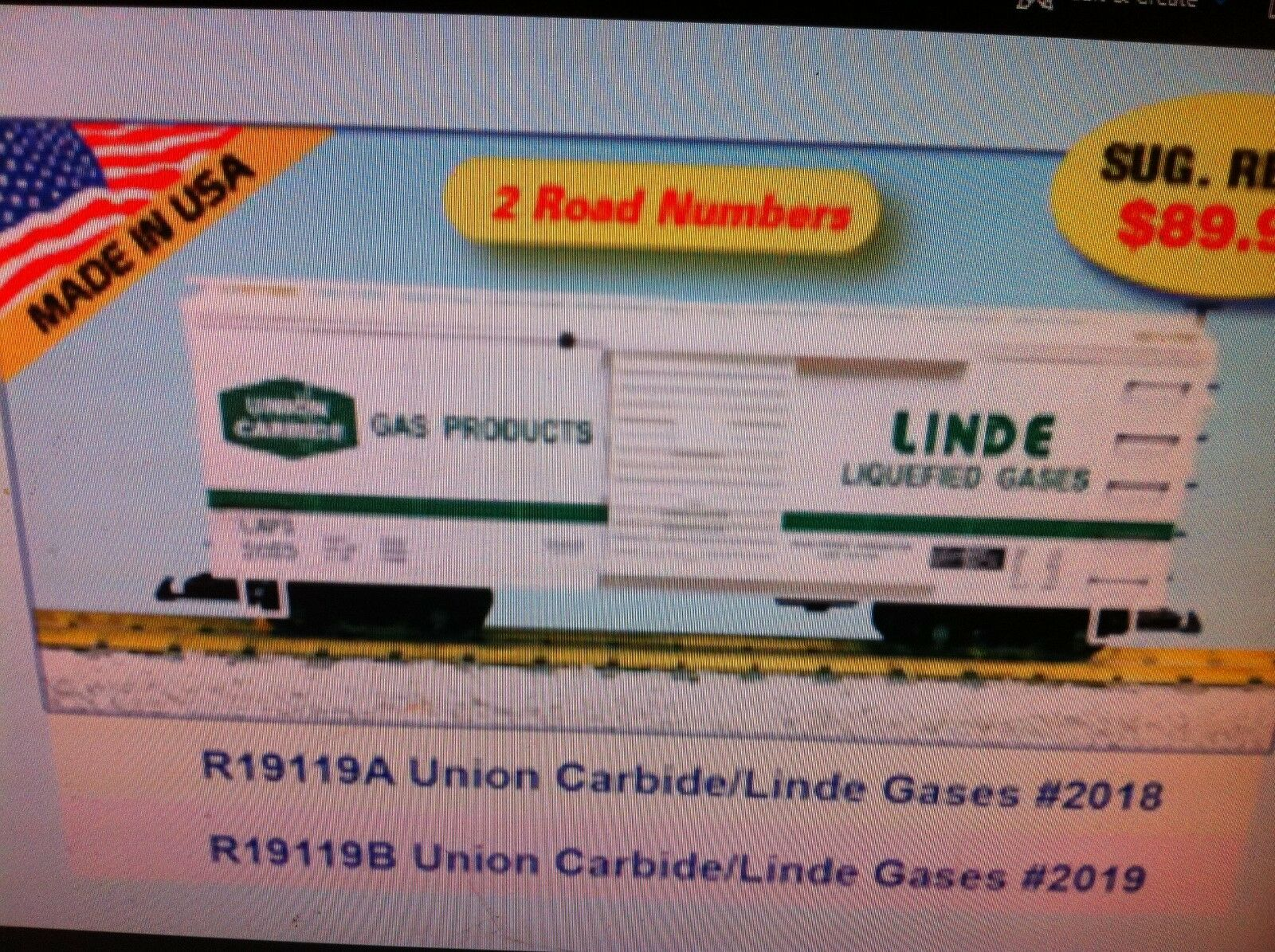 USA Trains G Scale R19119A Union Carbide Linde Gases WHITE Rd NEW RELEASE