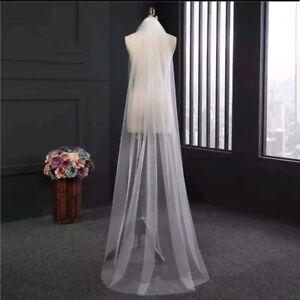 1-Tier-Soft-White-Ivory-Cathedral-Length-2M-Bridal-Wedding-Veil-Cut-Plain-Edge