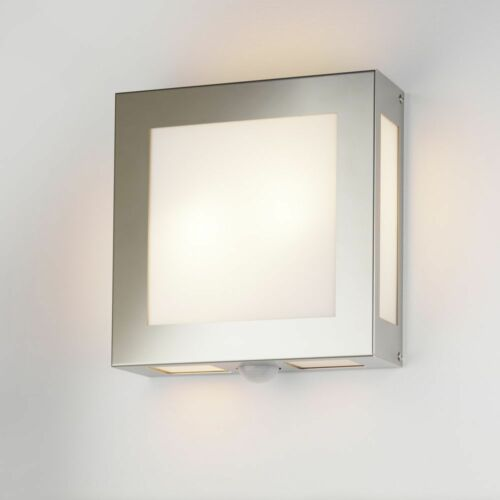 Lampada ESTERNO rilevatore di movimento e27 acciaio inox spazzolato acciaio vetro