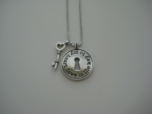 Authentic BRIGHTON Necklace Silver Heart Lock & Key Love Will Always Find A Way