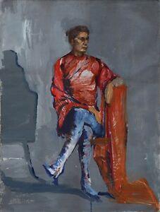 Russischer-Realist-Expressionist-Ol-Leinwand-034-Sitzende-034