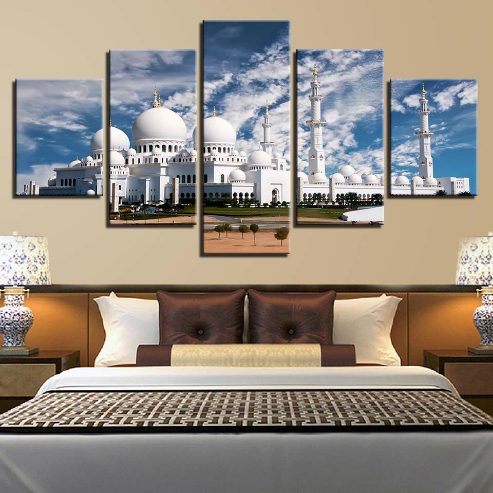 Sheikh Zayed Grand Mosque 5 Panel Canvas Print Wall Art