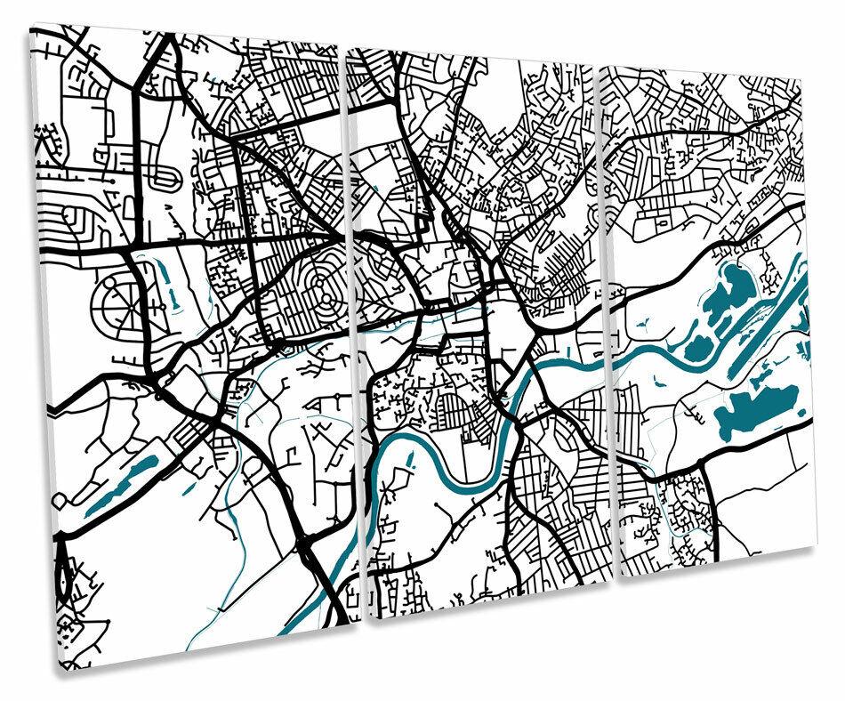 Nottingham Stadt Map Minimalistic Modern TREBLE CANVAS Wand Kunst Box Framed Pictur