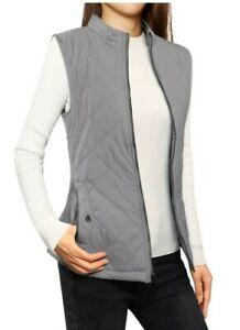 EUC ZARA Woman olive green full zip diamond quilted pattern utility vest szSml