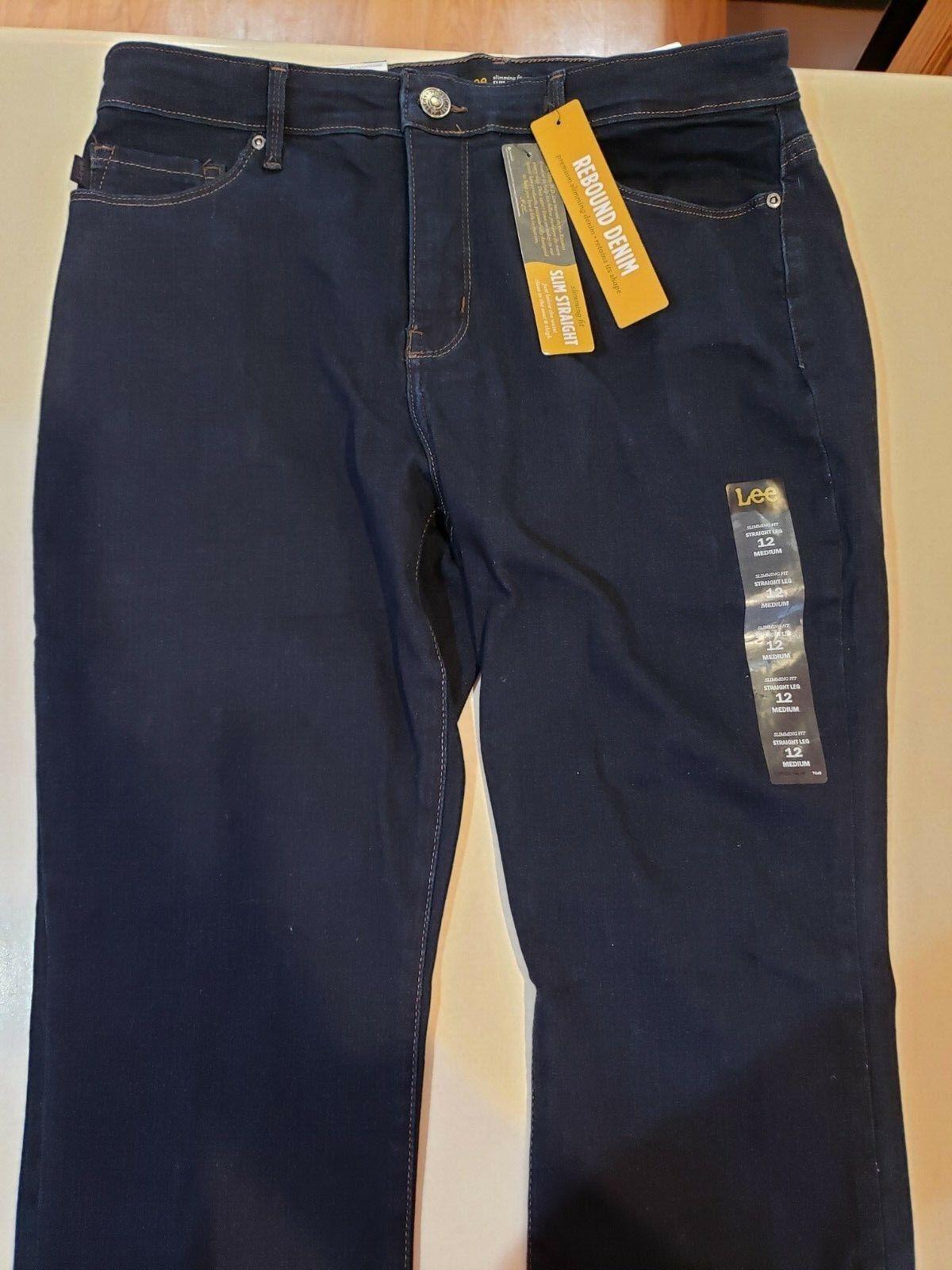 New Lee Rebound Denim Slim Straight Womens Jeans, Size 12 Medium