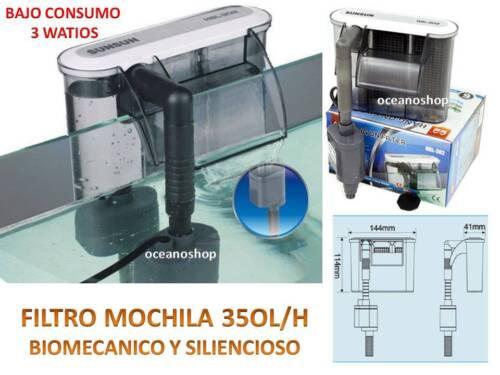 FILTRO MOCHILA 350L//H EXTERIOR CASCADA HBL-302 bomba 3W ACUARIO Pecera SIN RUIDO