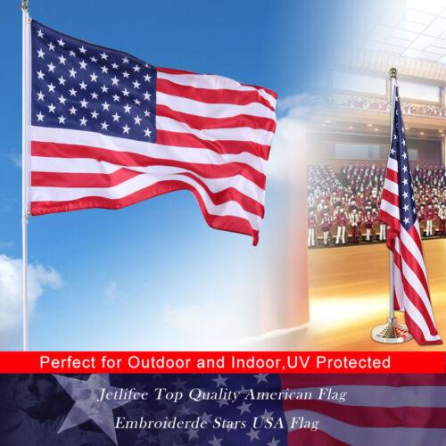 2x3 3x5 4x6 5x8 6x10 Ft Nylon Embroidered Stars Brass Grommets American USA Flag