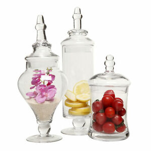 c2a4db785887 Details about Clear Glass Apothecary Jars (3 Piece Set) Decorative Weddings  Candy Buffet