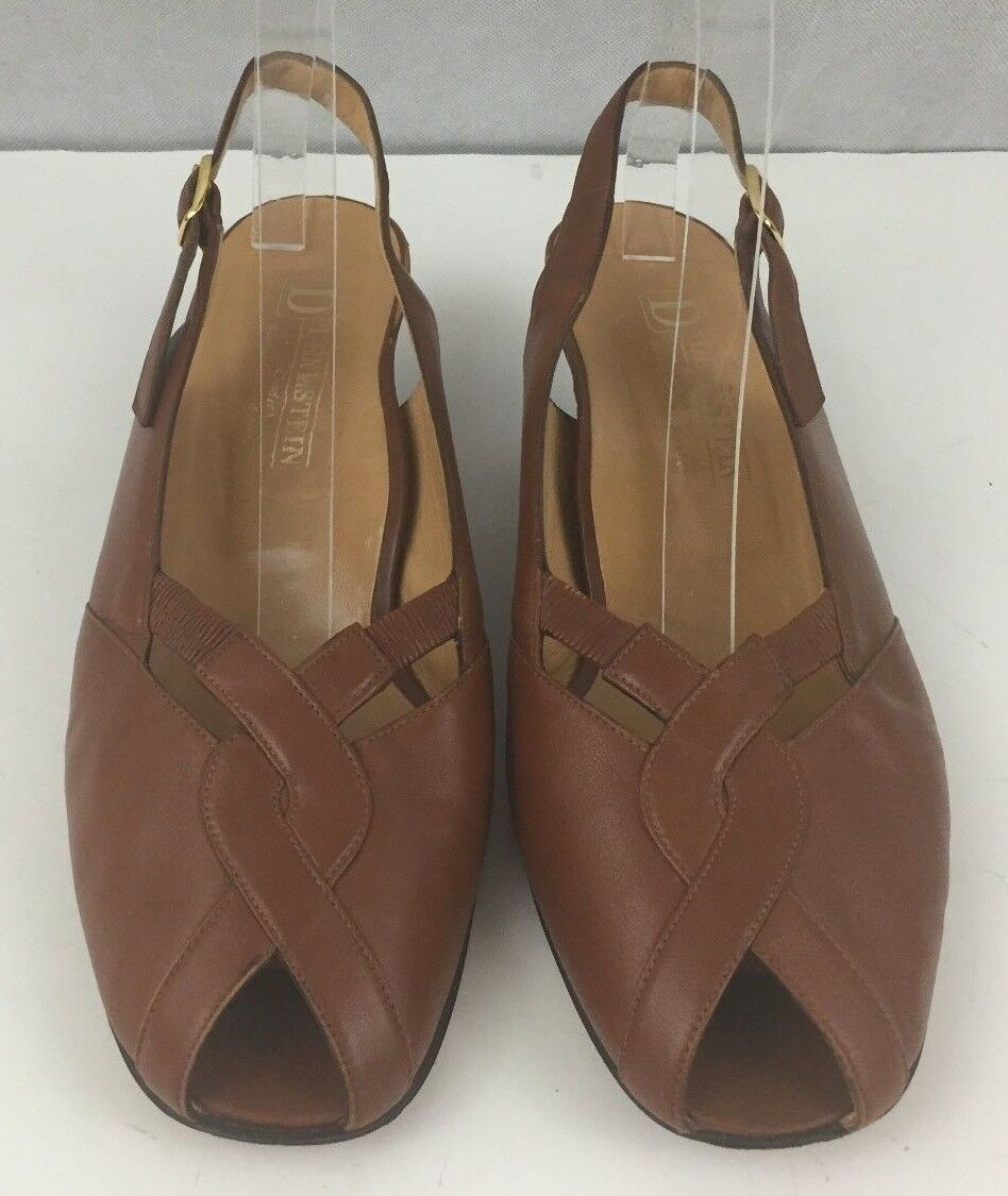 Denkstein Torlasco Womens Brown Leather Slingback Peep Italy Toe US 8 Made in Italy Peep 514cc3