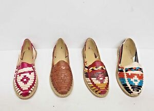 Details about Huaraches Sandals Women Handmade Mexican Multicolor Cowhide  Flat Slip-On Closed