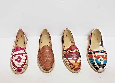 Huaraches Sandals Women Handmade Mexican Multicolor Cowhide Flat Slip-On  Closed   eBay