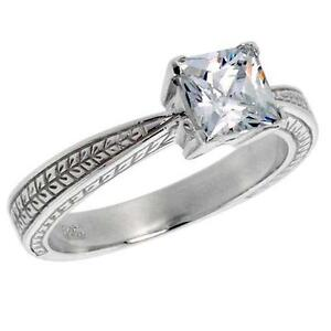 Sterling-Silver-Ring-w-5-5-mm-1-0-ct-Princess-Cut-CZ-Stone-Flawless-Finish