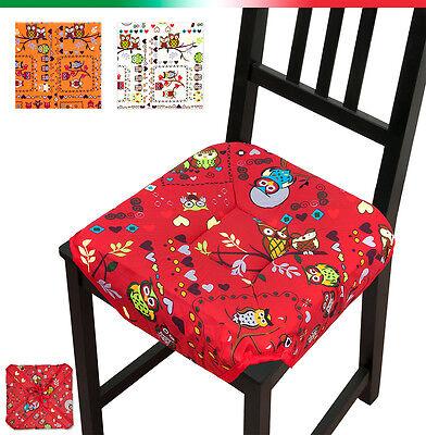 Cuscino coprisedia GUFI universali casa cucina copri sedie cotone alette lacci | eBay