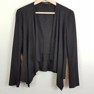 ZARA-Womens-Black-Faux-Suede-Draped-Jacket-Size-S-or-AU-10-US-6