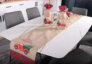 US-Christmas-Truck-Table-Runner-Tablecloth-Cover-Xmas-Party-Kitchen-Decor