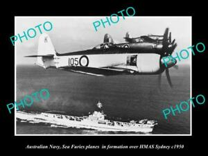 OLD-LARGE-HISTORIC-PHOTO-AUSTRALIAN-NAVY-SEA-FURIES-PLANES-amp-HMAS-SYDNEY-c1950