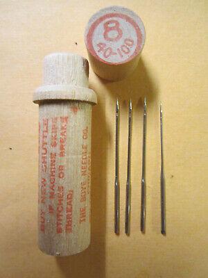 Needles in wood tube  #8 40-100 # 8  Antique Boye Sewing 1 4