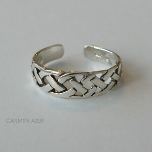 Solid-925-Sterling-Silver-Toe-Ring-Celtic-Braided-Design-New-with-Gift-Bag