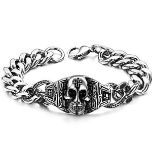 Edelstahl-Herren-Armband-TOTENKOPF-Armkette-silber-schwarz-Gothic-Massiv-23-cm