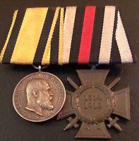 ✚4718✚ German mounted medal group Wurttemberg Merit Medal Honour Cross WW1