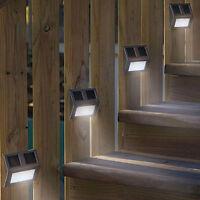 4PC GARDEN SOLAR POWERED WALL / FENCE / DOOR / STEP LIGHTS LED OUTDOOR  LIGHTING
