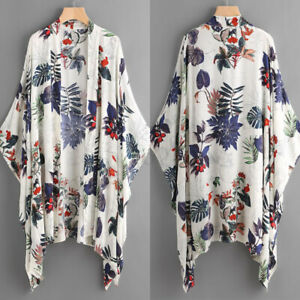 Women-Batwing-Asymmetrical-Open-Front-Cardigan-Floral-Print-Jacket-Coat-Tops-US