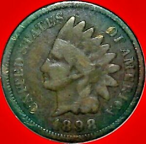 1898 1c Indian Head Cent Penny US Coin VF Very Fine