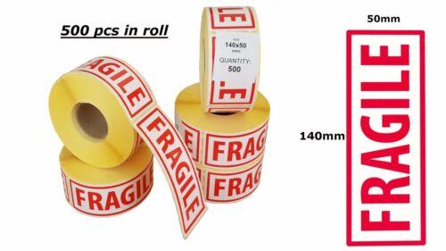 14cmx5cm 2x Rouleau de 500 pcs Extra Large fragile Stickers étiquettes 140 mm x 50 mm