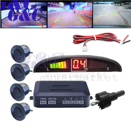 4//8Parking Sensors LED Display Car Backup Reverse Radar System Warning Alarm Kit