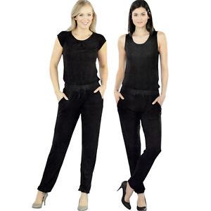 Damen Jumpsuit schwarz elegant lang Overall Einteiler Sommer Hosenanzug Onesies