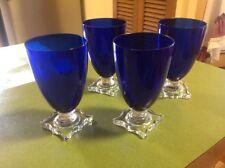 Vintage Seneca 903  Cobalt  Blue Footed Tumbler Juice Glasses, Set Of 4