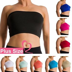 64833e06f32b4 Plus Size Seamless Strapless Bandeau Bra Tube Top Sports Bra Yoga XL ...