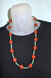 Vintage-CHINESE-CINNABAR-amp-JADE-BEADS-SILVER-CLASP-CARVED-BEADS-NECKLACE-25-034