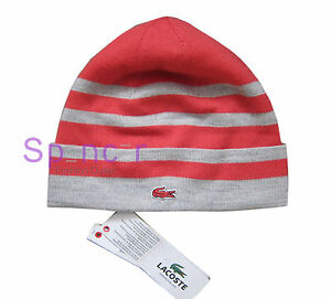 c6a40a51099 LACOSTE WOMAN S BEANIE HAT RB6728 - Pink   Grey Stripe SMALL  MEDIUM ...