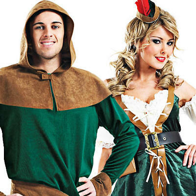 Robin Hood Ladies Fancy Dress Medieval Book Character Womens Adults Costume New