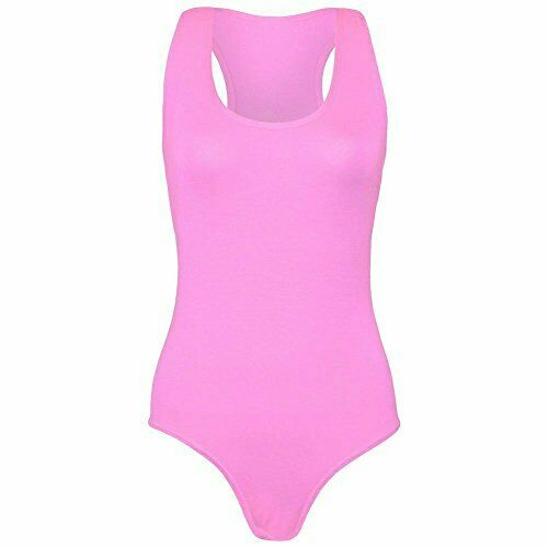 Ladies Jersey Muscle Racer Back Sleeeveless Bodysuit Leotard  Top UK Size 8-26