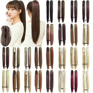 Women-Synthetic-Claw-Clip-Ponytail-Long-Straight-Thick-Pony-Tail-Hair-Extensions