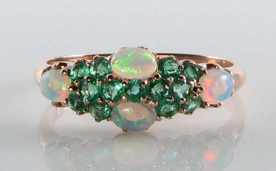 LUSH 9CT 9K pink gold OPAL & COLOMBIAN EMERALD ETERNITY ART DECO INS RING