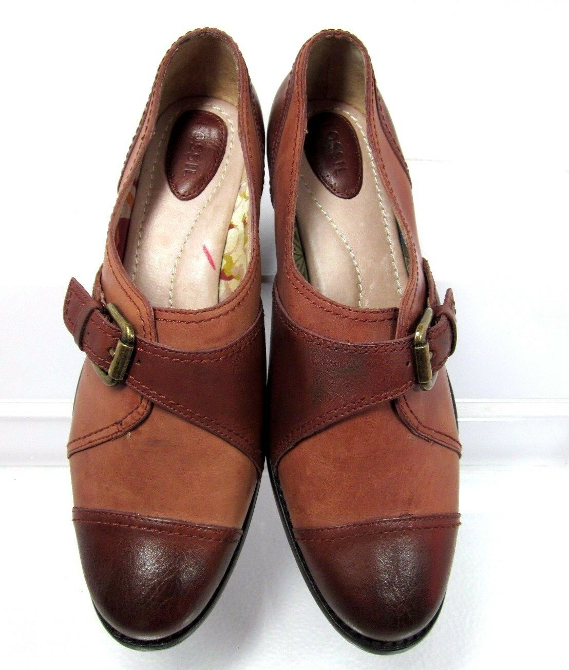 FOSSIL Tan & Brown Leather Monk Strap Buckle Cap Toe Comfort Size 9 Minimal Wear